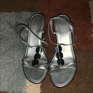Silver sandals wedges 👡